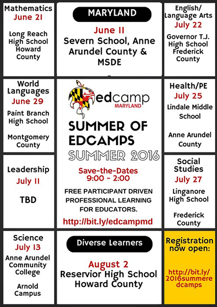 edCamp Maryland Summer Professional Learning Classes